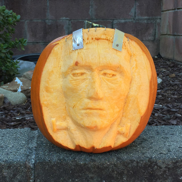 Halloween pumpkin carved as Frankenstein
